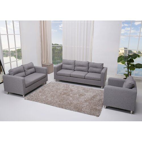 Detroit 3 Piece Sofa, Loveseat and Arm Chair Set