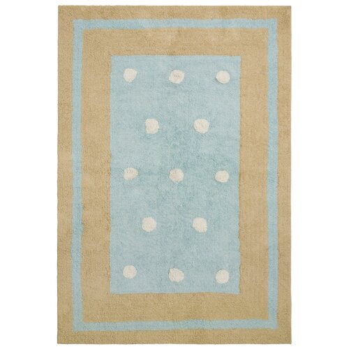 St. Croix Carousel Blue Border Dots Kids Rug