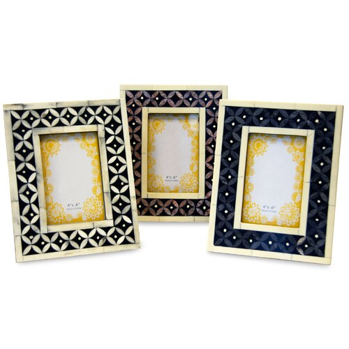 Kindwer 3 Piece Hand Carved Bone and Mother of Pearl Picture Frame Set