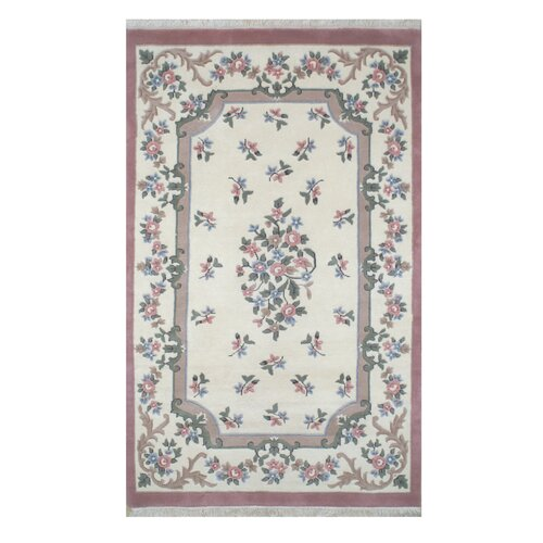 French Country Aubusson Ivory/Rose Floral Rug