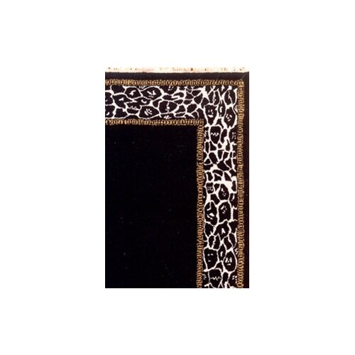 American Home Rug Co. African Safari Animal Skin Border Black/Off White Rug