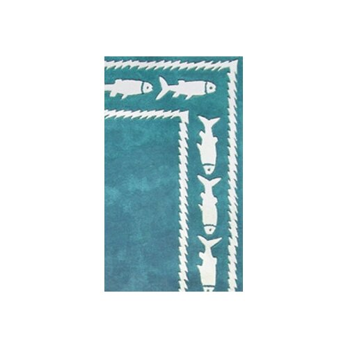 American Home Rug Co. Beach Rug Fish Border Novelty Rug