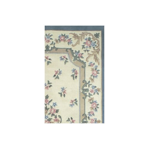 American Home Rug Co. French Country Aubusson Ivory/Blue Floral Rug