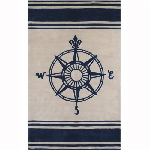 Beach Ivory/Navy Novelty Rug