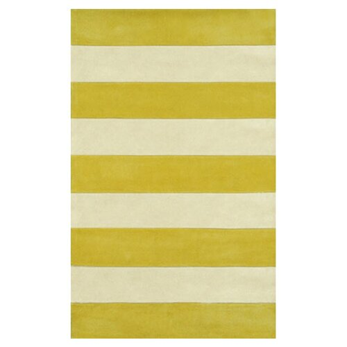 Beach Rug Yellow/Ivory Boardwalk Stripes Rug