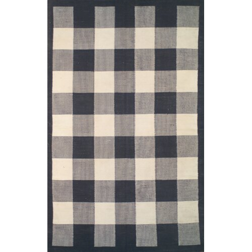 Cottage Kilim Black Elegant Check Rug