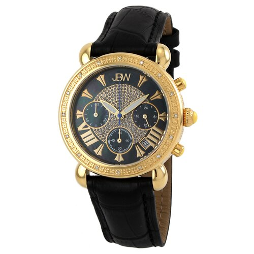 JBW Women's Victory Diamond Bezel Leather Watch in Black