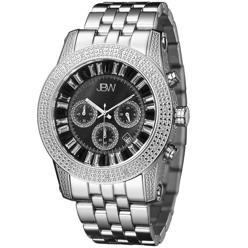 Men's Krypton Diamond Accented Watch in Silver with Black Dial