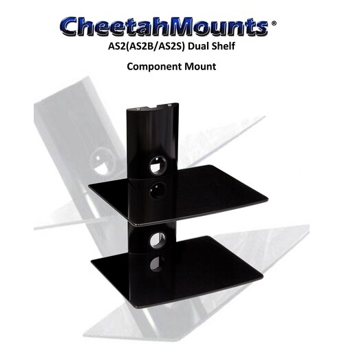 Cheetah Mounts Bi-Shelf Wall Mount Bracket in Black