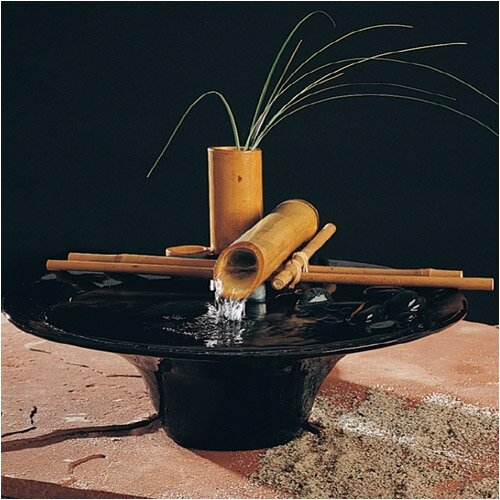 Nayer Kazemi Ceramic Nature Bowl Small Tabletop Fountain in Black Finish