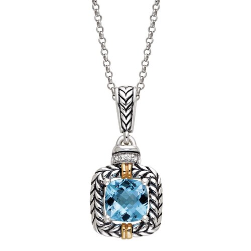 Silver and Gold Blue Topaz Pendant Necklace