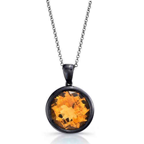 Élan Jewelry Moonstruck Sterling Silver and Orange Citrine 11 ct Pendant with Black Rhodium