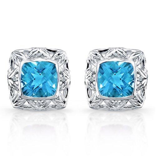 "Élan Jewelry ""Chrysalis"" Sterling Silver and Brilliant Diamond 10 Carat Swiss Blue Topaz Earrings"