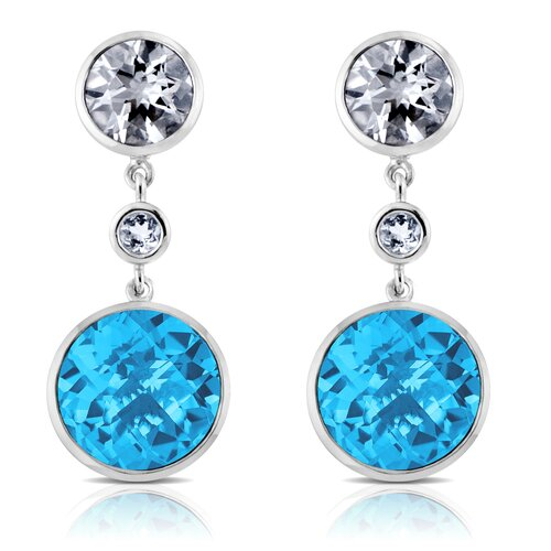 Élan Jewelry Angelina Sterling Silver Earrings with White Quartz and Swiss Blue Topaz