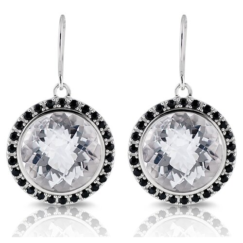 Capri 12 Carat White Quartz and Black Sapphire Earrings