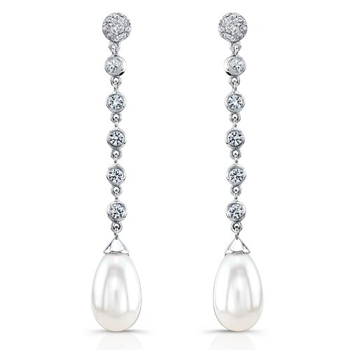 "Élan Jewelry ""Bella"" Sterling Silver Earrings with Fresh Water Cultured Pearls and White Sapphires"