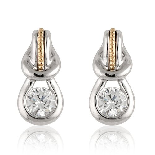 Élan Jewelry Silver and Gold-Tone Cubic Zirconia Fashion Earrings