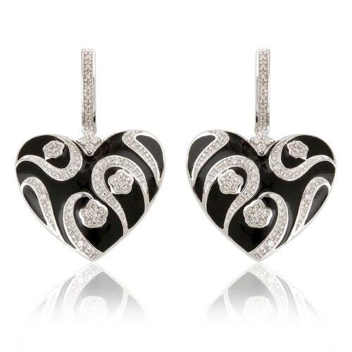 Élan Jewelry Sterling Silver and Cubic Zirconia Enamel Heart Earrings