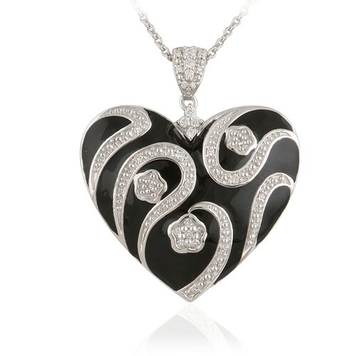 Élan Jewelry Sterling Silver and Cubic Zirconia Enamel Heart Pendant with Chain