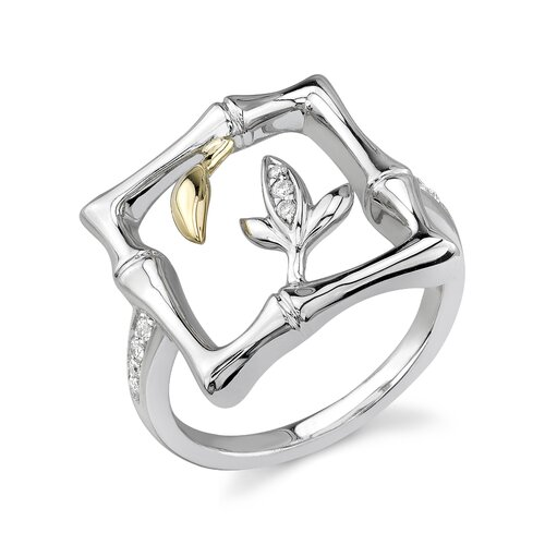 Élan Jewelry Sterling Silver and Yellow Gold Brilliant Cut Diamond Fashion Ring