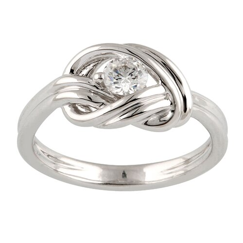 Élan Jewelry Silver-Tone Metal Round Cut Cubic Zirconia Ring