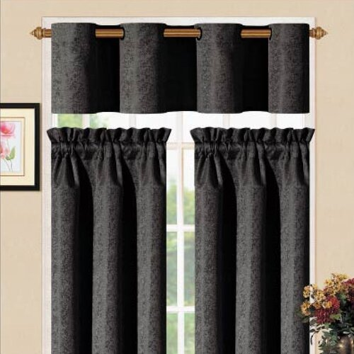 "DR International Sensations Metal Kitchen 36"" Valance and Tier Set"