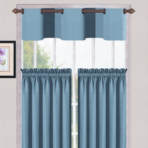 "DR International Cambridge Synthetic Metal Grommet Kitchen 56"" Valance and Tier Set"