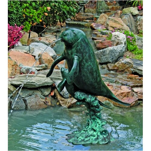 Brass Baron Sea Life Manatees Fountain