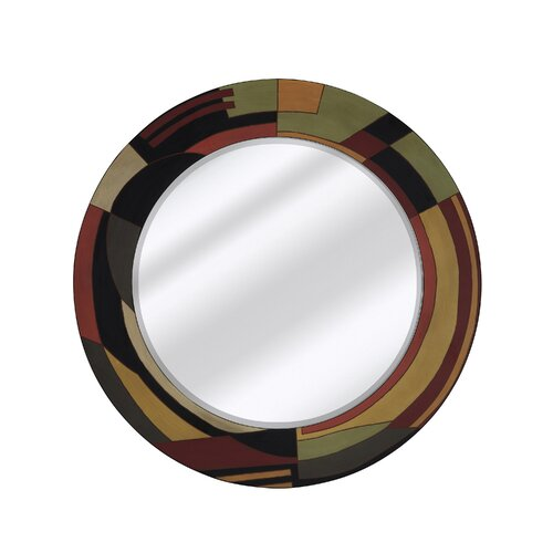 Mixed Media Round Bevel Wall Mirror