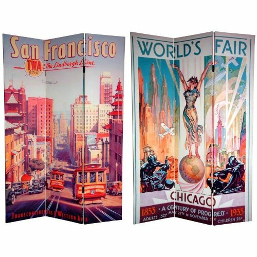 "Oriental Furniture 72"" x 47.25"" Double Sided San Francisco / Chicago 3 Panel Room Divider"