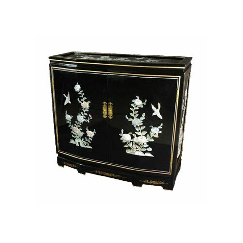 Asian Floral Design Slant Front Cabinet