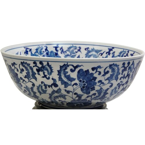 Bowl with Blue Floral Design in White