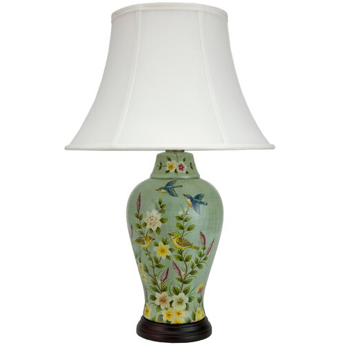 "Oriental Furniture Birds and Flowers 24.5"" H Porcelain Jar Table Lamp"