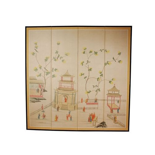 "Oriental Furniture 72"" x 72"" The Pagoda Enter 4 Panel Room Divider"