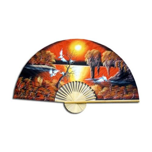 Oriental Furniture Asian Sunrise Fan Wall Décor