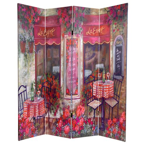 "Oriental Furniture 72"" x 48"" Double Sided Parisian Cafe 4 Panel Room Divider"