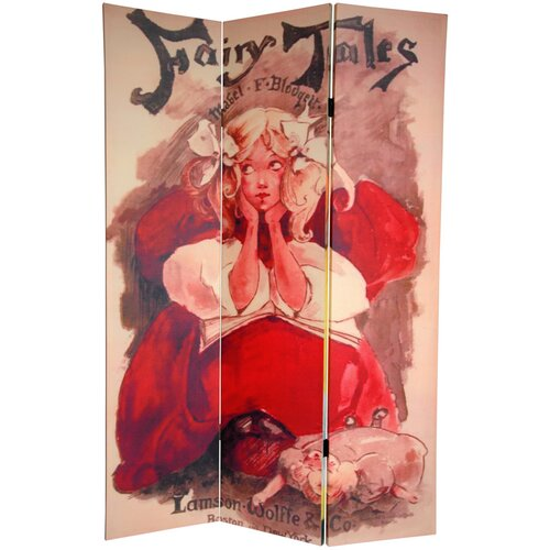 "Oriental Furniture 72"" x 48"" Double Sided Fairy Tale 3 Panel Room Divider"
