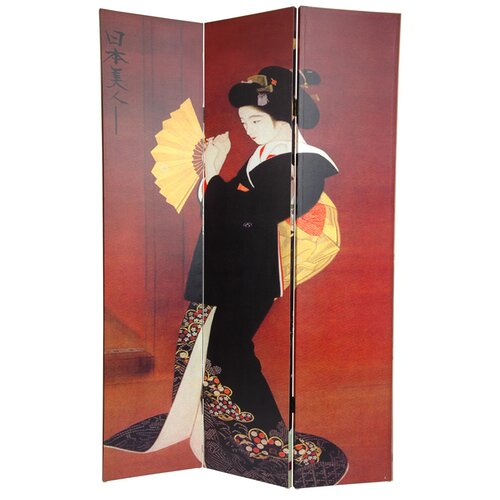 """Oriental Furniture 72"""" x 48"""" Double Sided Japanese Ladies 3 Panel Room Divider"""