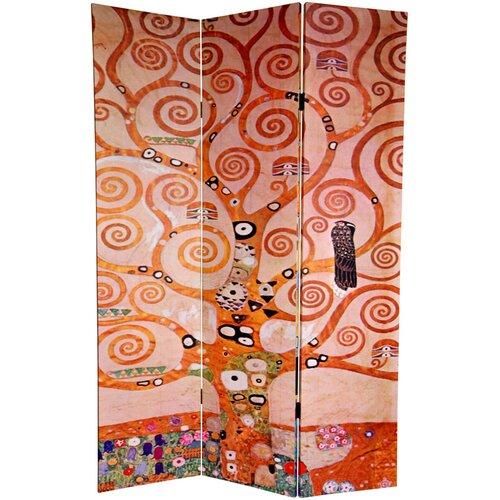 "Oriental Furniture 72"" x 48"" Double Sided Works of Klimt 3 Panel Room Divider"