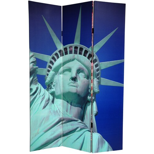 "Oriental Furniture 72"" x 48"" Double Sided Liberty 3 Panel Room Divider"