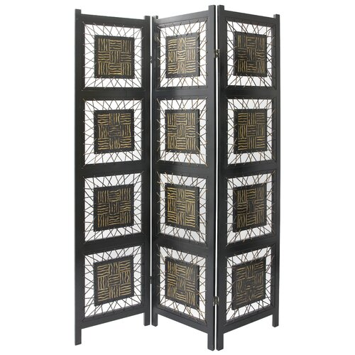 "Oriental Furniture 71"" x 53"" Coco Twig 3 Panel Room Divider"