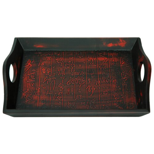 Oriental Furniture Calligraphy Tray Black and Red Matte Lacquer
