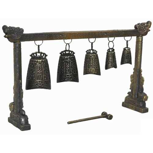 Oriental Furniture Tibetan Five Decorative Bell Gong