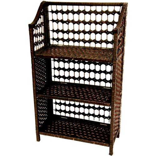 "Oriental Furniture 33"" Natural Fiber Shelving Unit in Mocha"