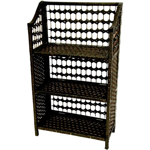 "Oriental Furniture 33"" Natural Fiber Shelving Unit in Black"