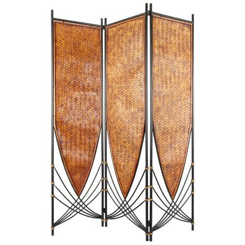 "Oriental Furniture 72"" x 52.5"" Tropical Philippine 3 Panel Room Divider"