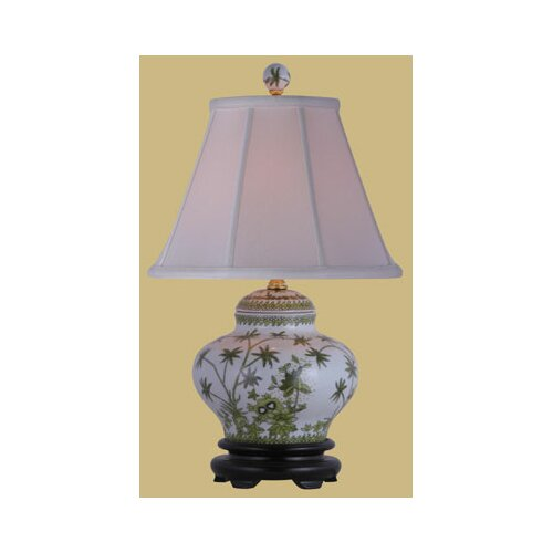 Oriental Furniture Porcelain Palm Tree Jar Table Lamp