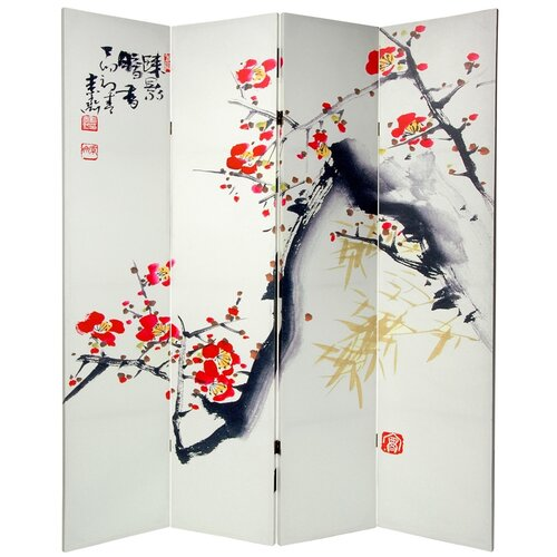 "Oriental Furniture 70.88"" x 63"" Double Sided Cherry Blossoms and Love 4 Panel Room Divider"