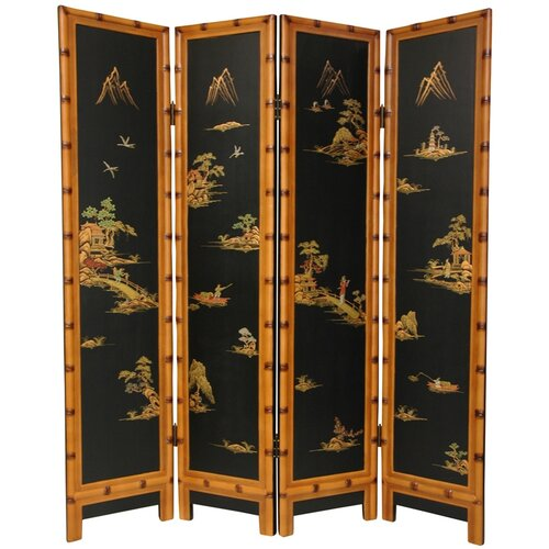 """Oriental Furniture 72"""" x 64"""" Ching 4 Panel Room Divider"""