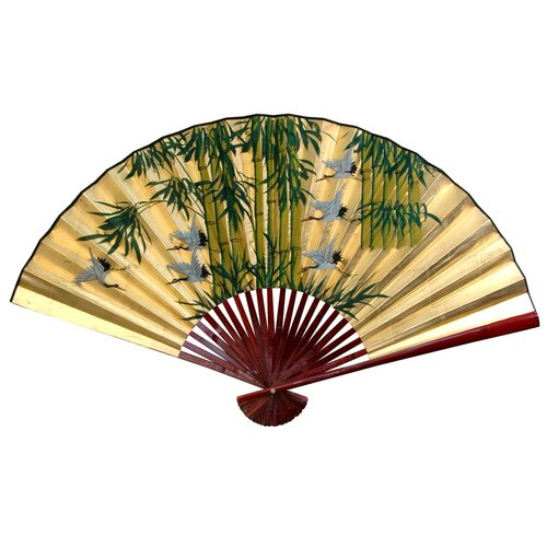 Oriental Furniture Gold Leaf Bamboo and Cranes Fan Wall Décor